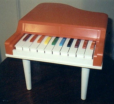 On The Left Is A Baby Blue Colored Wooden Toy Piano Lid Decoupage Logo Of Bird Over Keyboard And Condor Grand